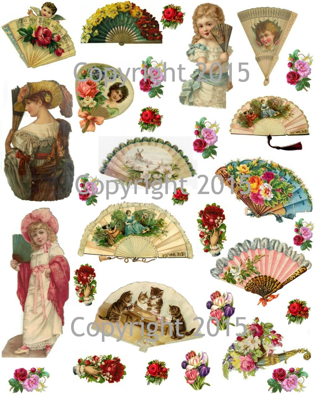 Vintage Victorian Fans and Flowers Collage Sheet Art Images for Decoupage, Scrapbooking, Jewelry Making