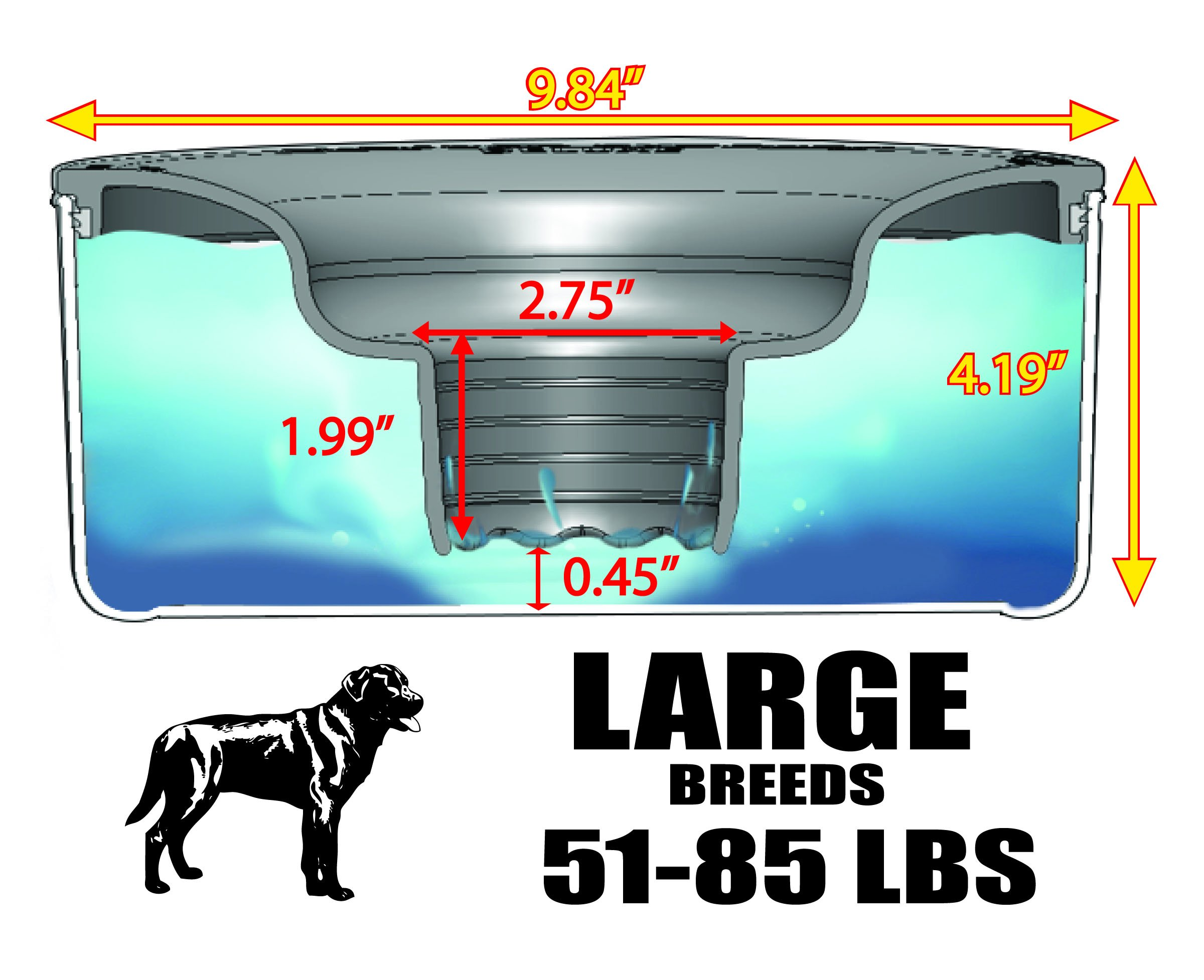Slopper Stopper Dripless Dog Water Bowl - Large Breed Dogs 51-85 Lbs by Slopper Stopper
