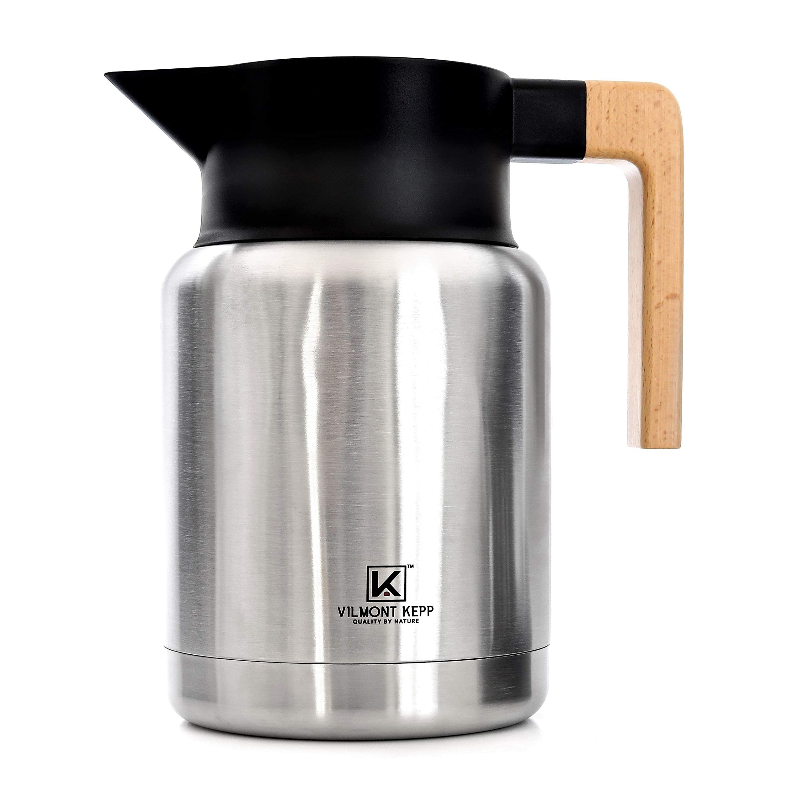Premium Sturdy 50 oz Thermal Vacuum Carafe for Coffee Tea, Hot or Cold Drinks, Double Walled Stainless Steel Insulated, Beechwood Handle No-Drips Wide Mouth in a Gift Box by Vilmont Kepp