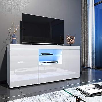 Elegante - Mueble de TV LED Blanco Brillante para salón y Dormitorio con Muebles de Almacenamiento para TV de 32 40 43 50 52 Pulgadas 4K Style C-1350x330x710mm Blanco: Amazon.es: Electrónica