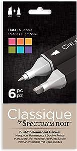 Spectrum Noir Classique Design Alcohol Marker Dual Nib Pens Set-Hues-Pack of 6