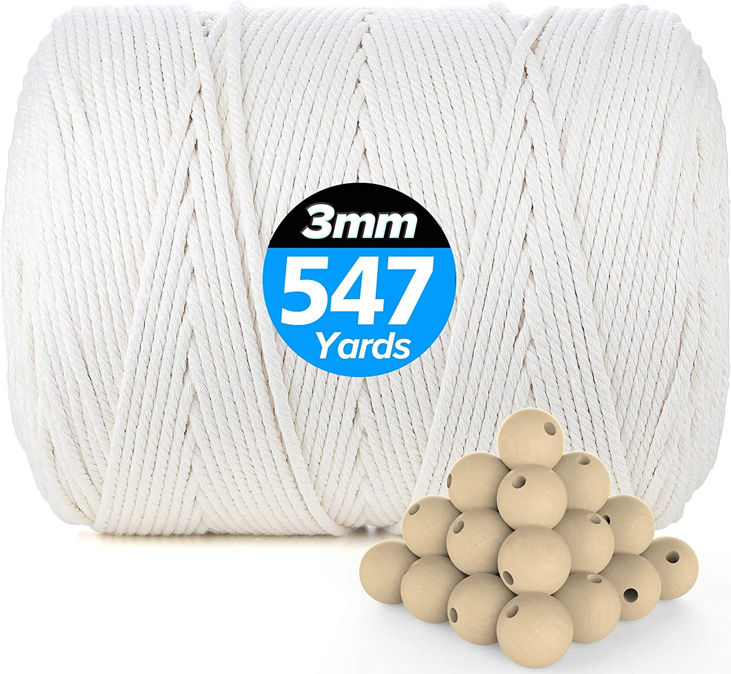 ASTARON Natural Macrame Cotton Cord Set Include 109 Yards Cotton Cord 60pcs Wood Beads 6pcs Wood Ring and 4pcs Wooden Stick for Crafts and Home Decorations