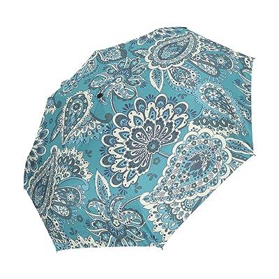 WIHVE Paisley Umbrella Auto Open Close Windproof Compact
