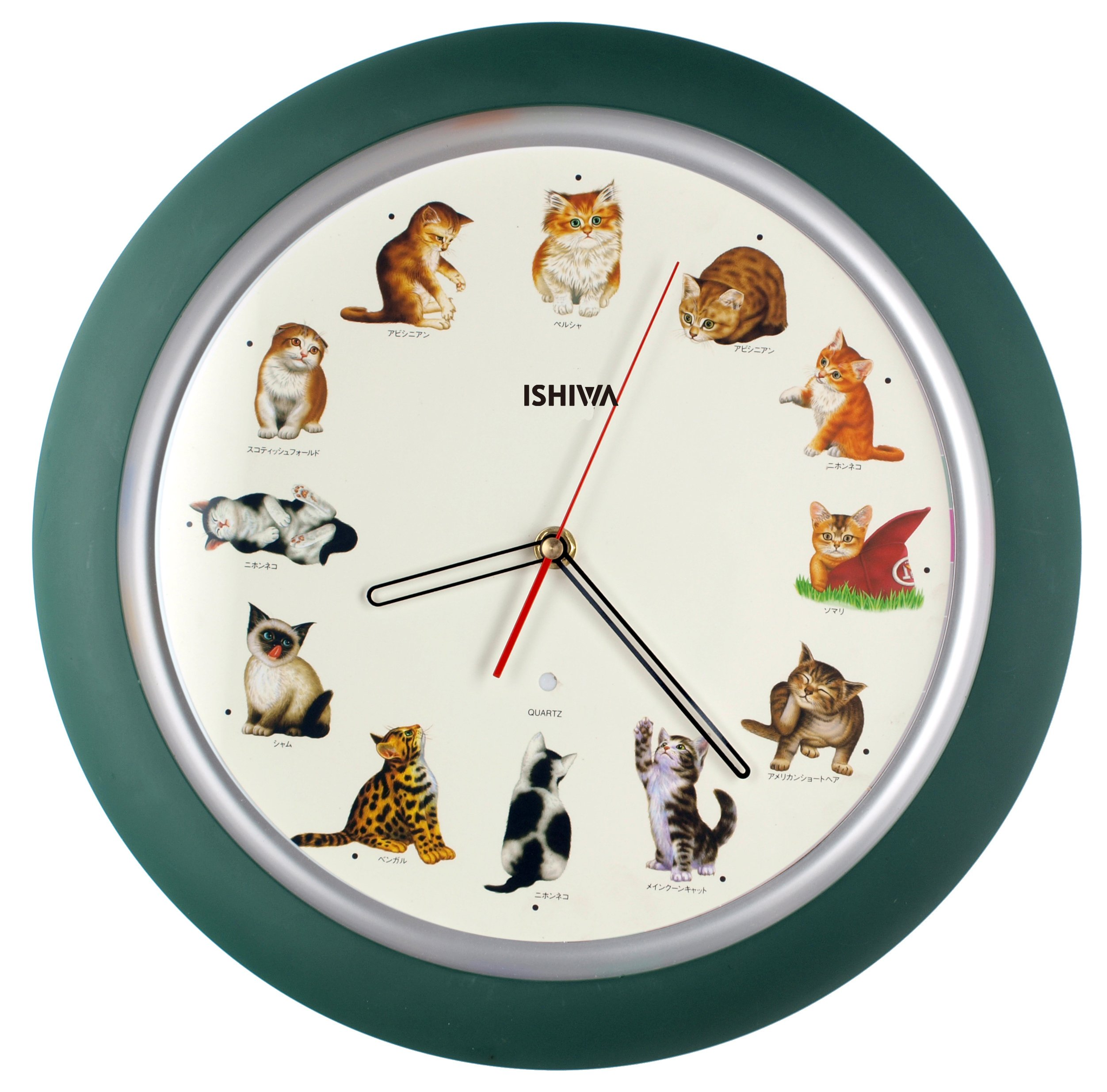 14-inch Unique Animals Family Quality Wall Clock Silent Non-ticking Movement, Home Decor (W84029-1 Cats)