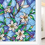 Coavas Privacy Window Film Stained Glass Window Film Non-Adhesive Frosted Glass Film Decorative Static Cling Window Film for