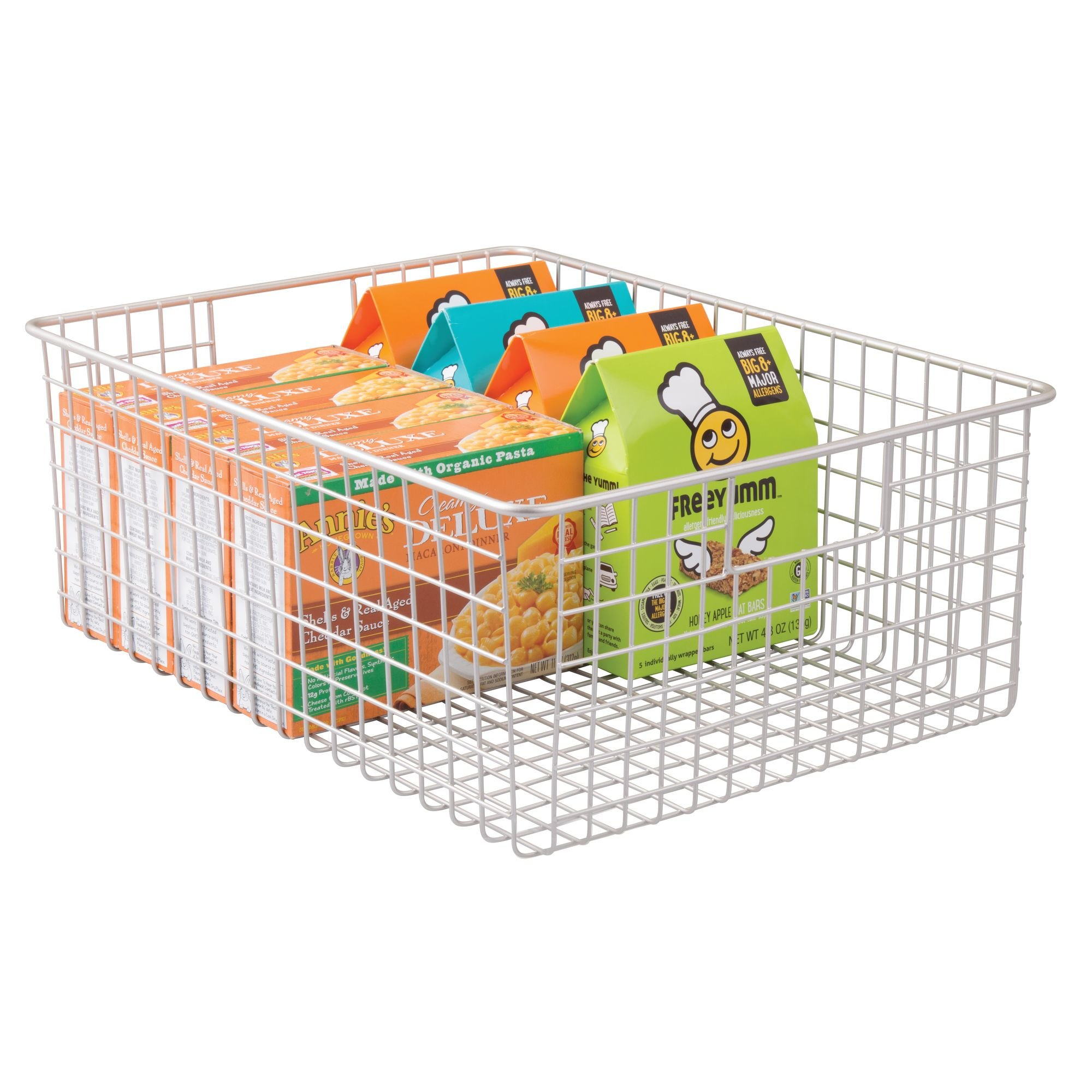 mDesign Wire Organizing Storage Basket with Built-In Handles - 16'' x 12'' x 6'', Satin