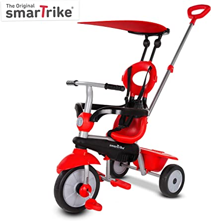 Multistage Convertible Trike for Toddlers and Babies to Learn to Ride with Push Bar and Removeable Canopy Lil Rider 4-in-1 Tricycle Stroller