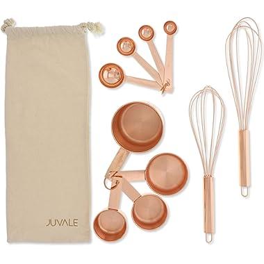 Juvale Stainless Steel Kitchen Cooking Baking Utensils 10 Piece Tool Set, Rose Gold