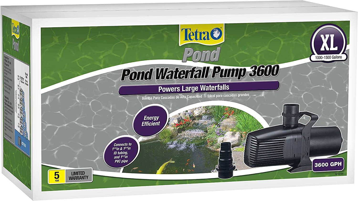 Tetra 14941 pond Waterfall Pump for Ponds, Debris 3600 Gph Handling Pump High Capacity,Ponds Up to 1500 Gallons