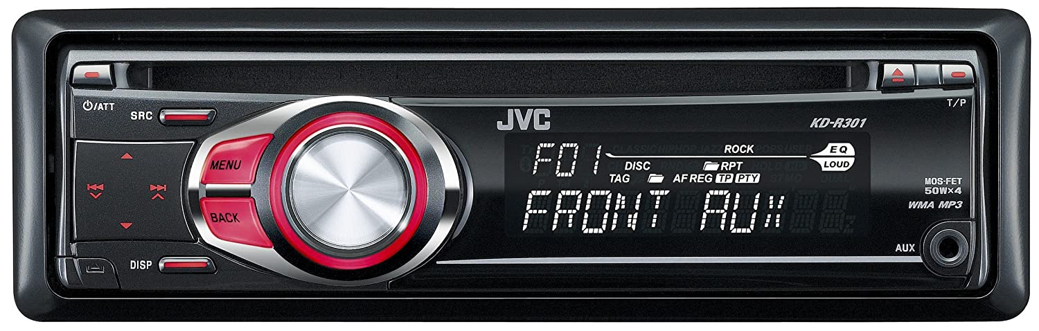 JVC KD-R301 CD/MP3/WMA Car Stereo with Front Aux Input -Red Illumination Car HiFi cd mp3 player black headunit rds tuner KDR KDR301 Pioneer Portable_Electronics MOSFET Power Supply