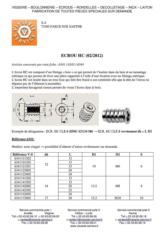ECROU ACIER ZING BLANC HEXAGONAL CREUX 17X20 M10 CLE 10
