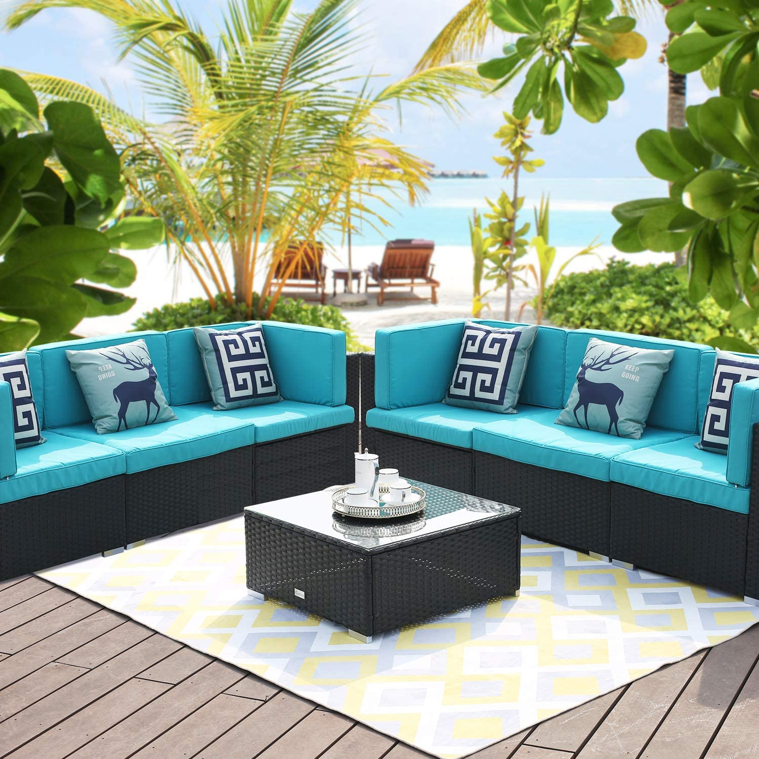 LUCKWIND Patio Conversation Sectional Sofa Chair Table – 7 Piece All-Weather Black Checkered Wicker Rattan Seating Cushion Patio Ottoman Modern Glass Coffee Table Outdoor Accend Pillow 300lbs Green
