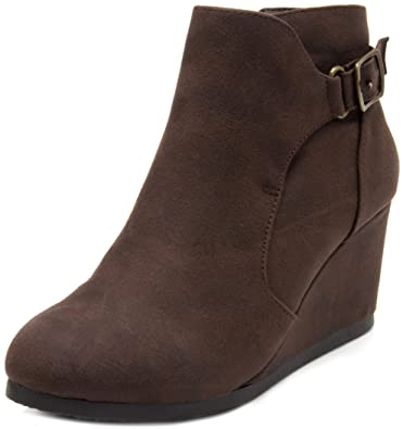 a21761dba57 Amazon.com  Sugar Women s Megan Wedge Bootie with Buckle Ankle Boot ...