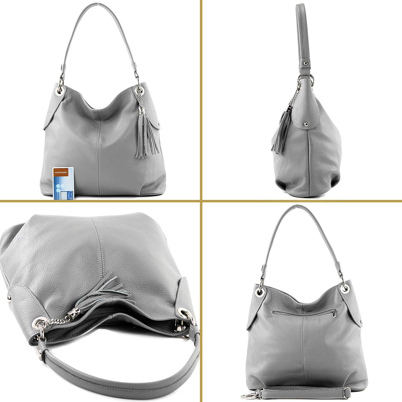 modamoda de - T185 - Sac à bandoulière en cuir pour dames Blanc
