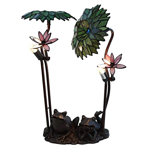 Warehouse of Tiffany ROA Green Palms with Frog 2-Light Table Lamp, Green Pink, 14 D x 19 H