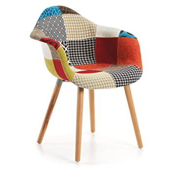 Kave Home Chaise Avec Accoudoirs Kevya Patchwork Amazonfr