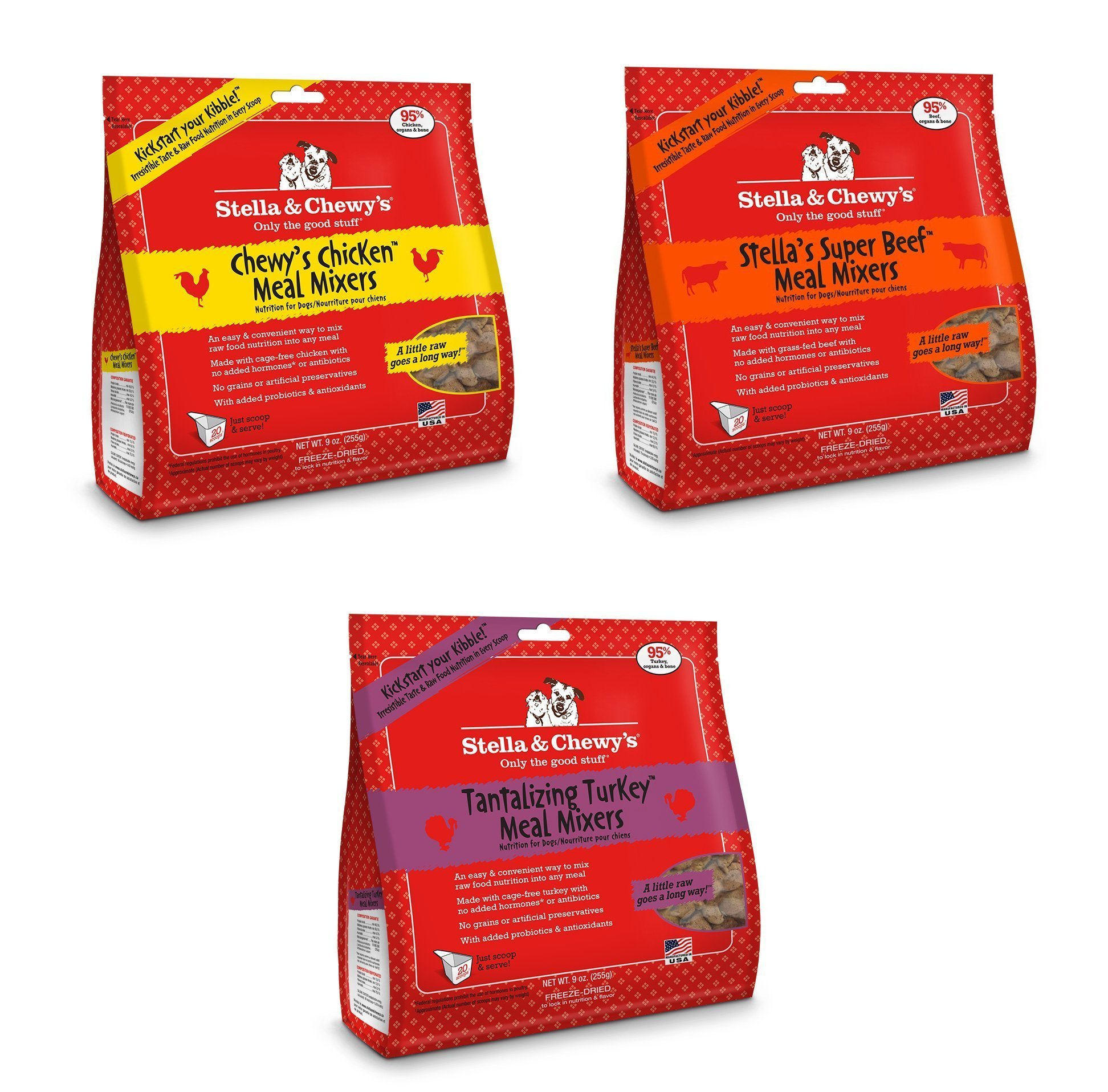 Stella & Chewy's Freeze Dried Meal Mixers for Dogs, 18oz Variety 3 Pack. 1 of each flavor (Beef, Chicken, Turkey)