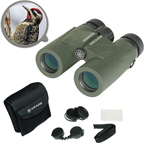 Meade Instruments Wilderness 8×32 Waterproof Compact Lightweight Outdoor Bird Watching Sightseeing Sports Concerts Travel HD Binoculars for Adults Multi-Coated BaK-4 Prisms With Carrying Bag