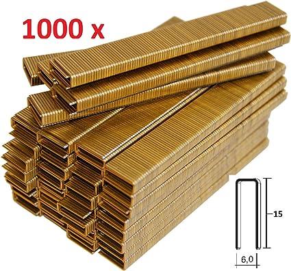1000 GRAPAS DE 6mm X 15mm PARA GRAPADORA ELECTRICA PARKSIDE HECHAS EN ALEMANIA