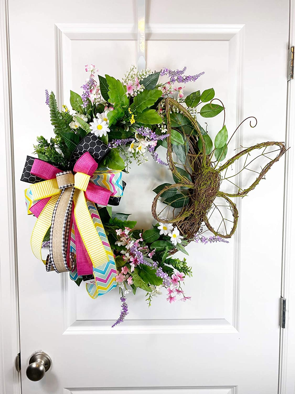 Butterfly Grapevine Wreath Wired Bow Farmhouse Summer