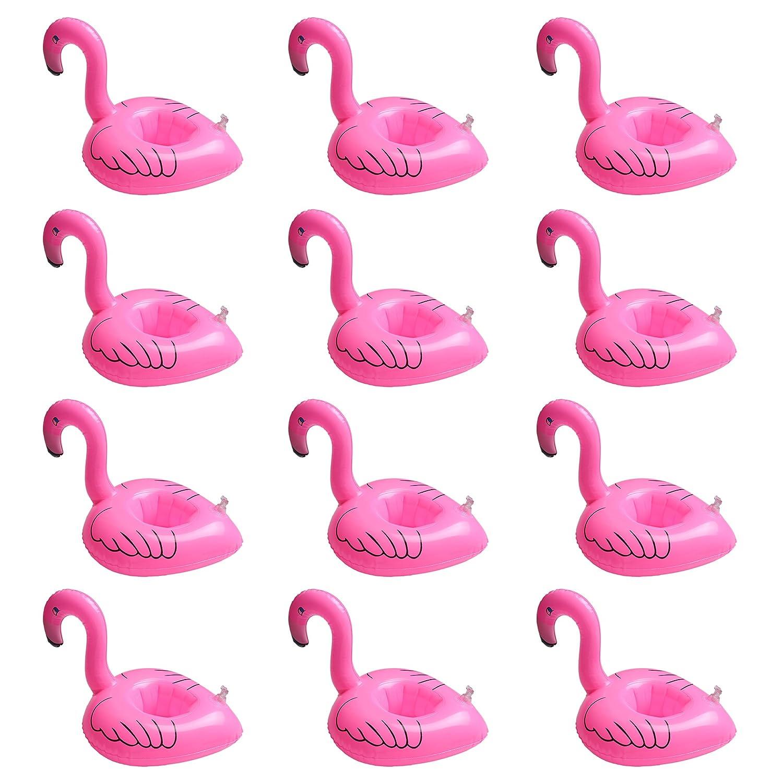 iLoveCos Flamenco Flotador Posavasos Hinchable Flamingo Titular de la Copa Inflable Botella Flotante Posavasos para la Piscina Fiesta de Verano Decor ...