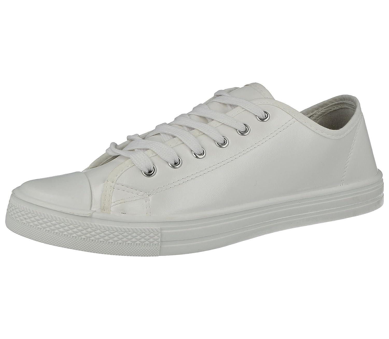 Mens Faux Leather PU Or Canvas Lace Up White Toe Cap Low Top Plimsoll Trainers Canvas Pumps Gym Retro Plimsolls Size UK 7-12 Black White Navy