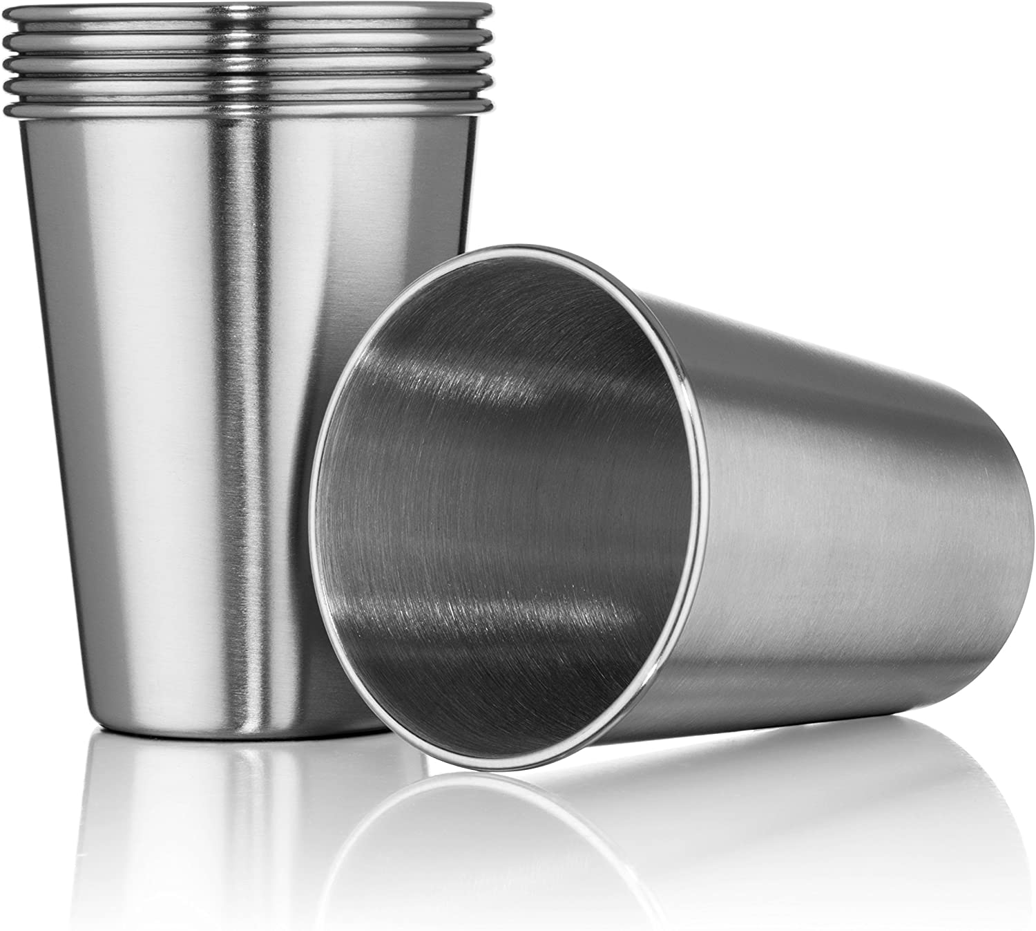 Hudson Essential 12 oz. Stainless Steel Tumblers - Stackable Tumbler Cups - Set of 6 (12 oz.)