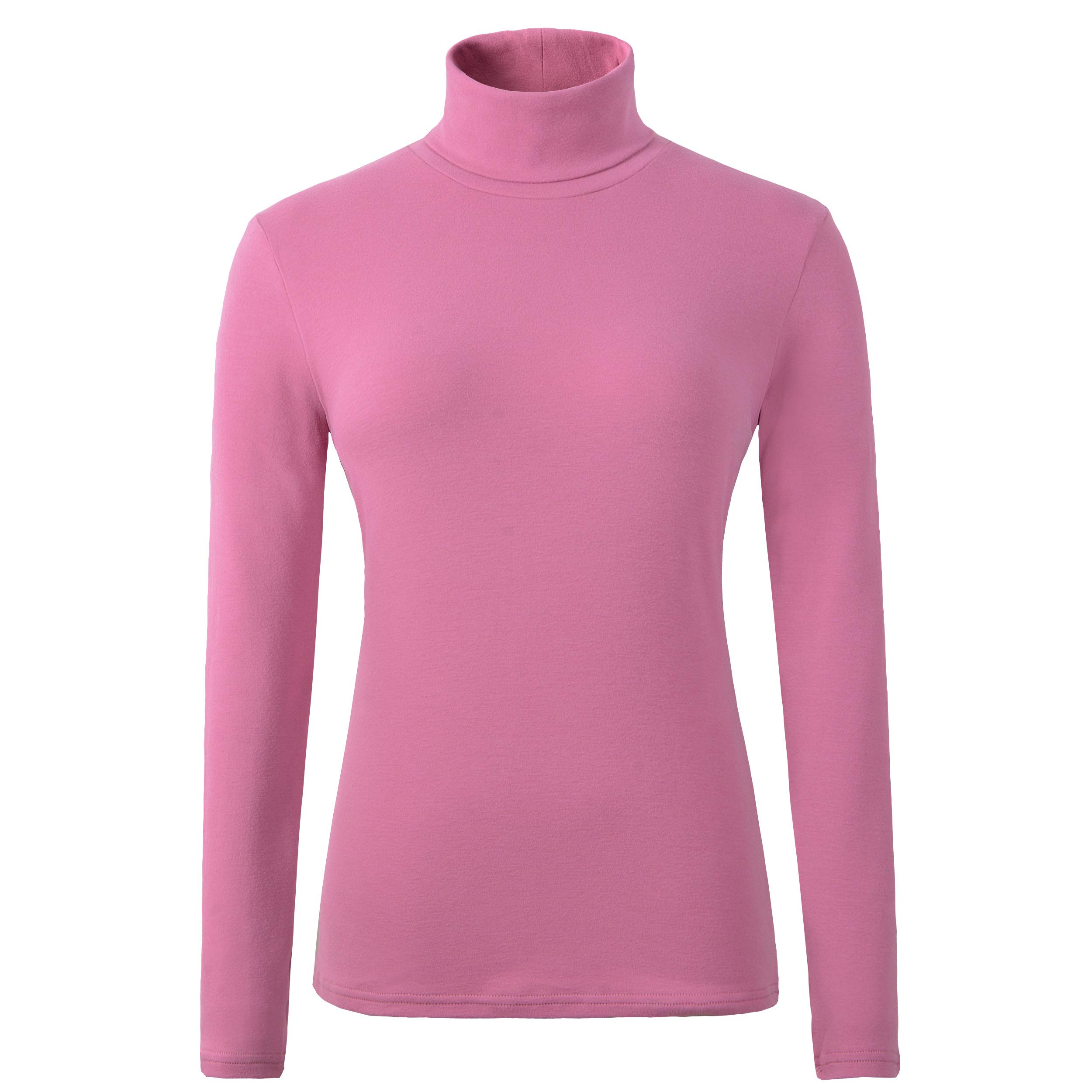HieasyFit Women's Cotton Basic Thermal Turtleneck Pullover Top(Pink L) by HieasyFit