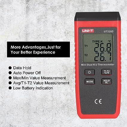 UNI-T UT320D Tipo K/J Dual-CH Termómetro digital Termómetro Medidor de