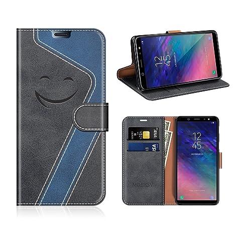 MOBESV Smiley Funda Cartera Samsung Galaxy A6 Plus 2018 Magnético, Funda Cuero Movil Samsung A6+