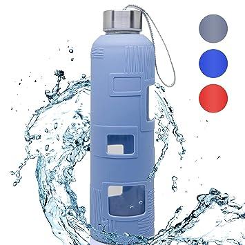 Botella de agua de cristal, 45,7 g, con funda de silicona,