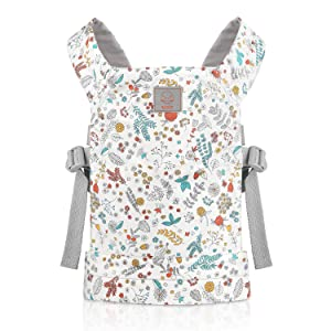 GAGAKU Dolls Carrier Front and Back Soft Cotton for Baby Girls Over 18 Months, Flower Pattern