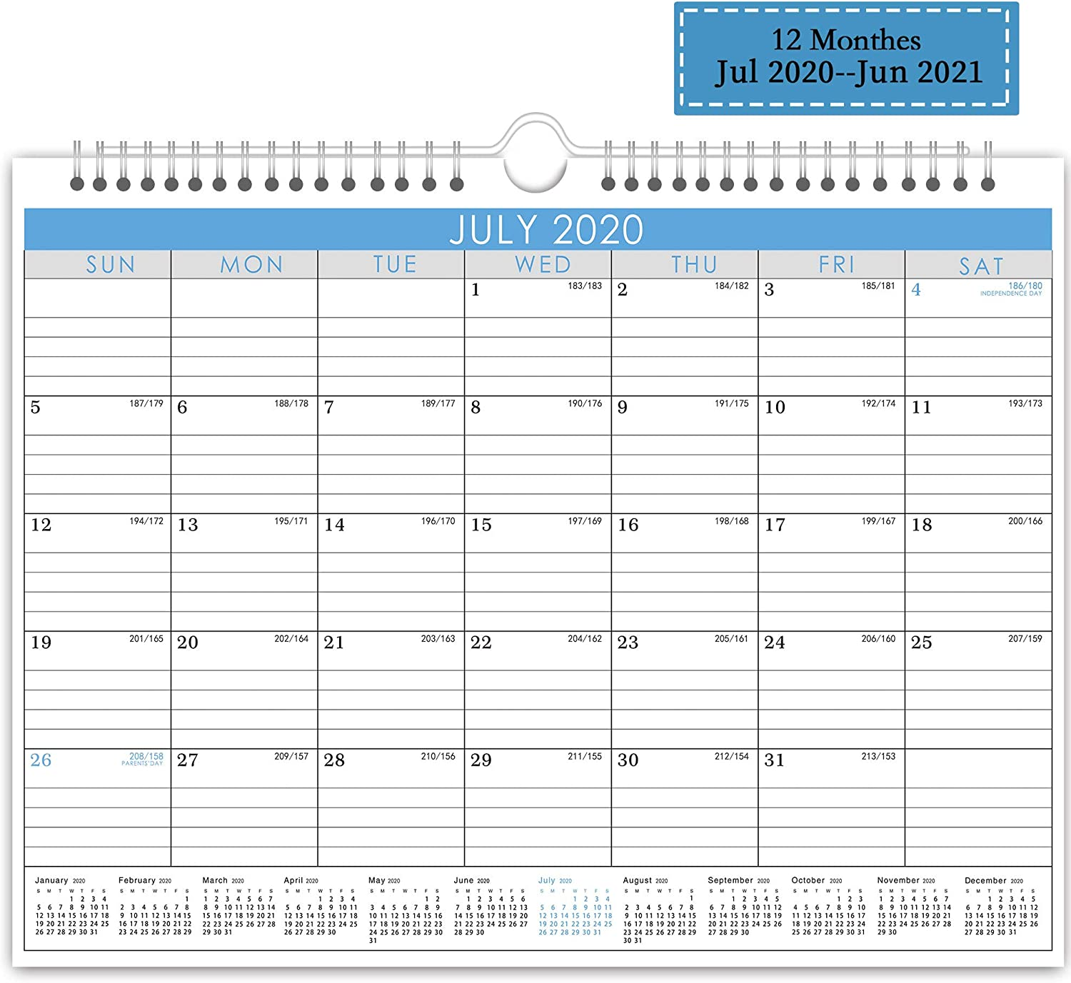 Wall Calendar July 2020-June 2021 Monthly Overview with Julian Date, Yearly Planner with Wire Bound Hanger, 12 Monthes Academic Desktop for Office and Family,11.5 × 15 inches