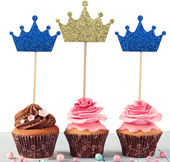 20x Birthday Crown Cupcake Topper Cake Pick Baby Shower Party Favors Gold Silver