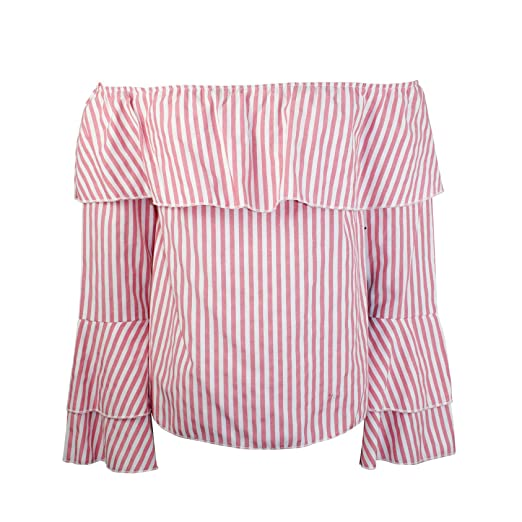 f5d29d2e4054d0 HYFVE Womens Striped Off The Shoulder Top Pink and White Stripe ...