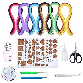 Conjunto de Filigrana de Papel Colores Surtidos con 8 Herramientas de Quilling y 29 Colores de 600 Tiras de Papel Quilling: Amazon.es: Hogar