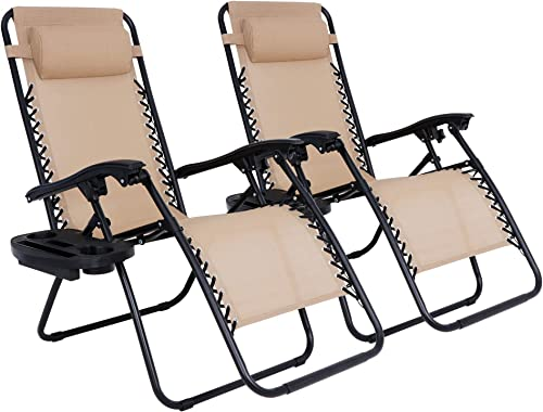 SUPER DEAL Set of 2 Reclining Lounge Chair Adjustable Zero Gravity Chair