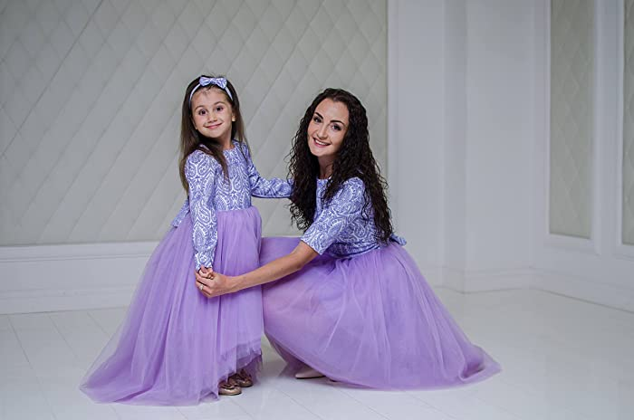801cf929a Amazon.com: Lavanda Mother daughter matching tutu dresses, Knee length  dresses for Mom and baby, party dress with sleeves, Mommy and Me low high  tutu: ...