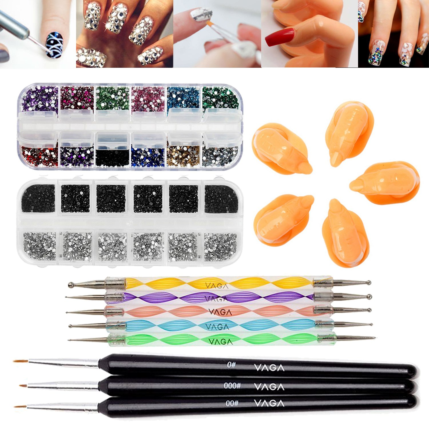 Fabulous Deal Professional Nail Art Accessories Practice Set With 5 Best Quality Acrylic Dummy Fingers, Fine Wooden Nails Brushes / Stripers / Liners And Boxes of 5000 Colourful, Silver, Black Rhinestones / Crystals / Gemstones And Dotting Tools / Dotters
