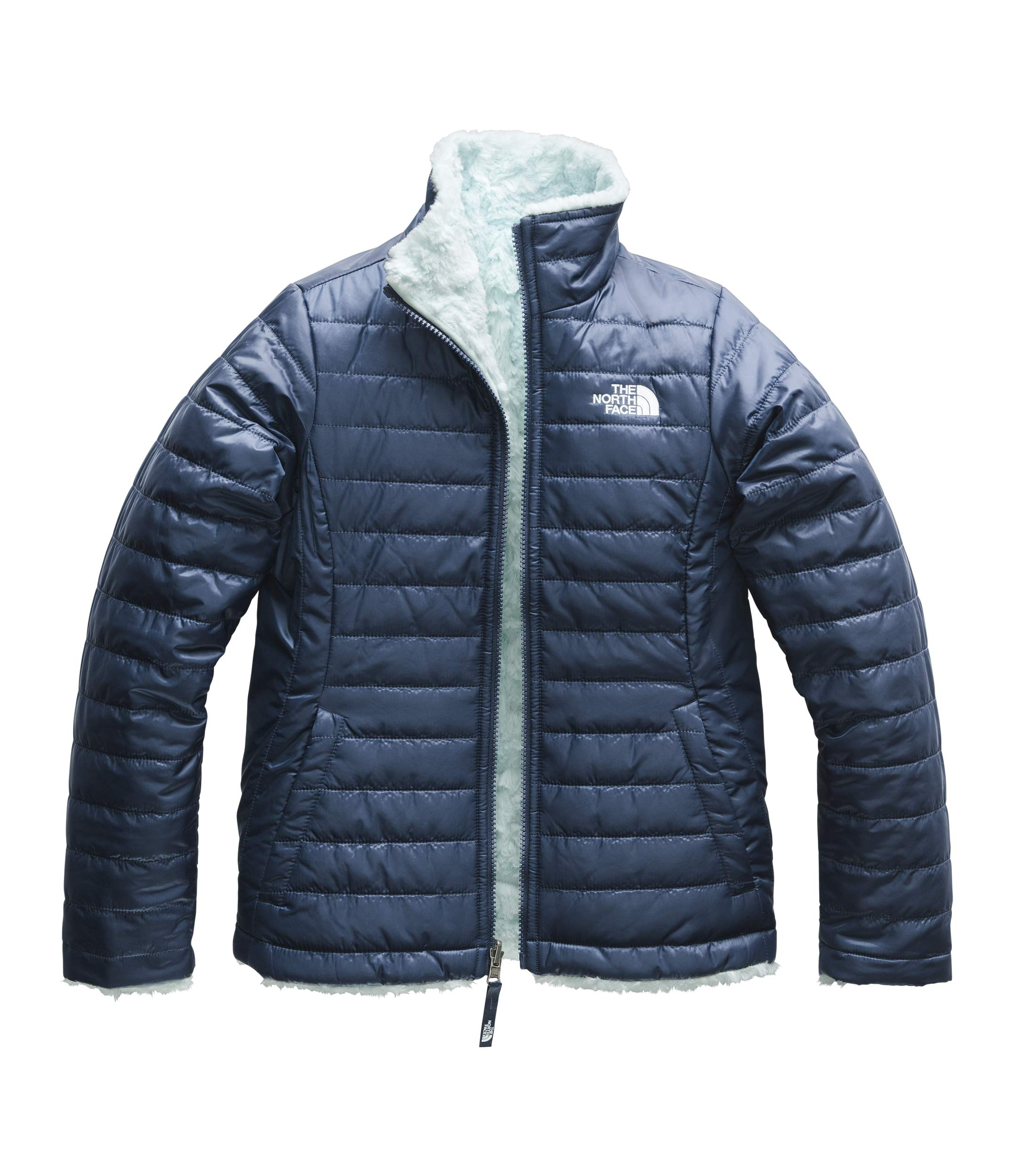 The North Face Girl's Reversible Mossbud Swirl Jacket - Blue Wing Teal & Origin Blue - M