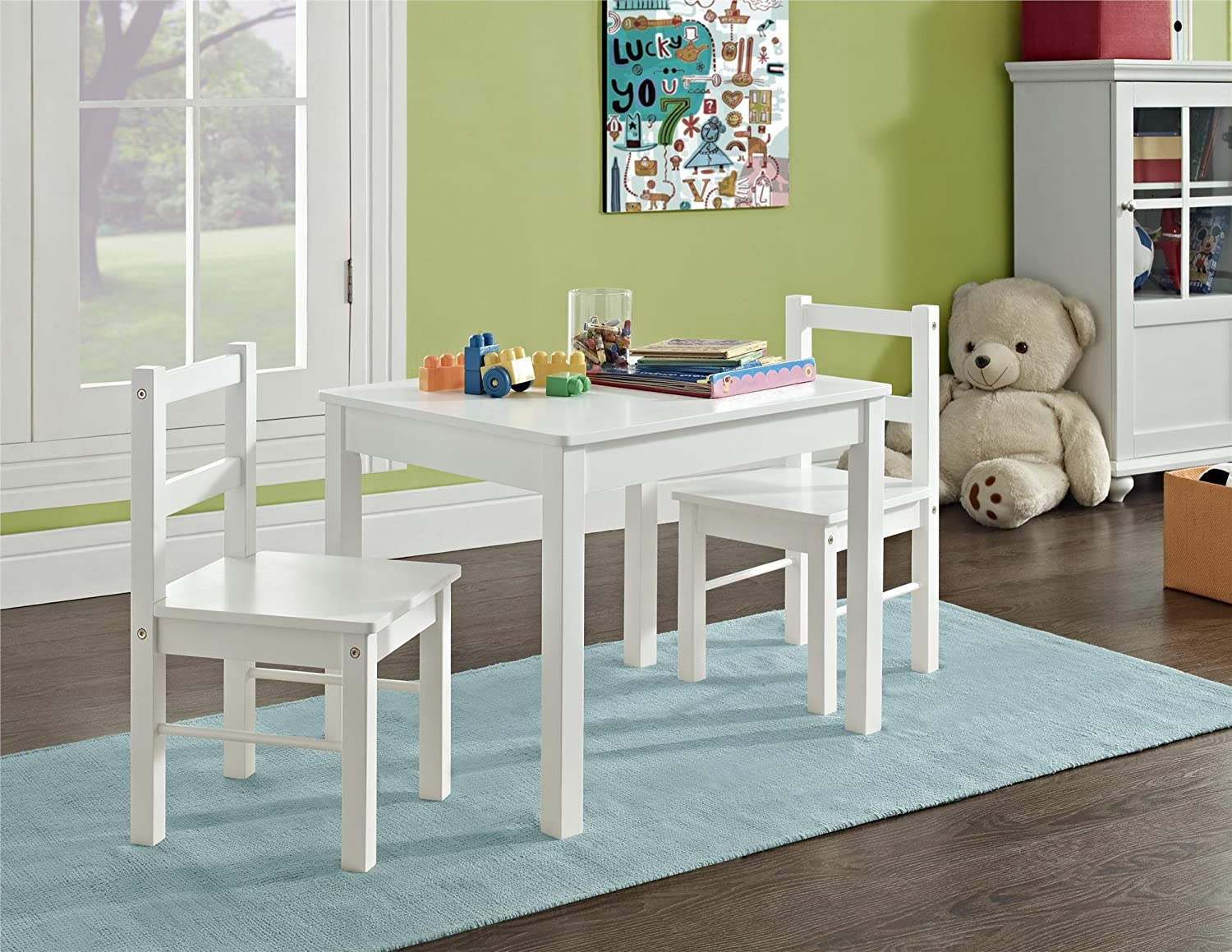 Amazon.com: Ameriwood Home Hazel Kidu0027s Table And Chairs Set, White: Kitchen  U0026 Dining