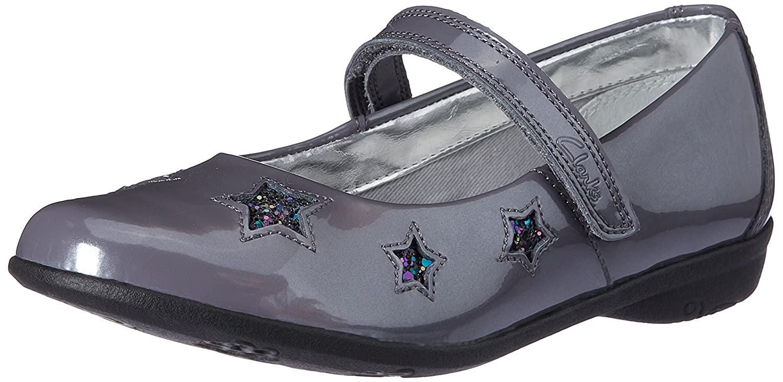 Clarks Girls Out Of School Orra Star revêtement cuir-Anthracite