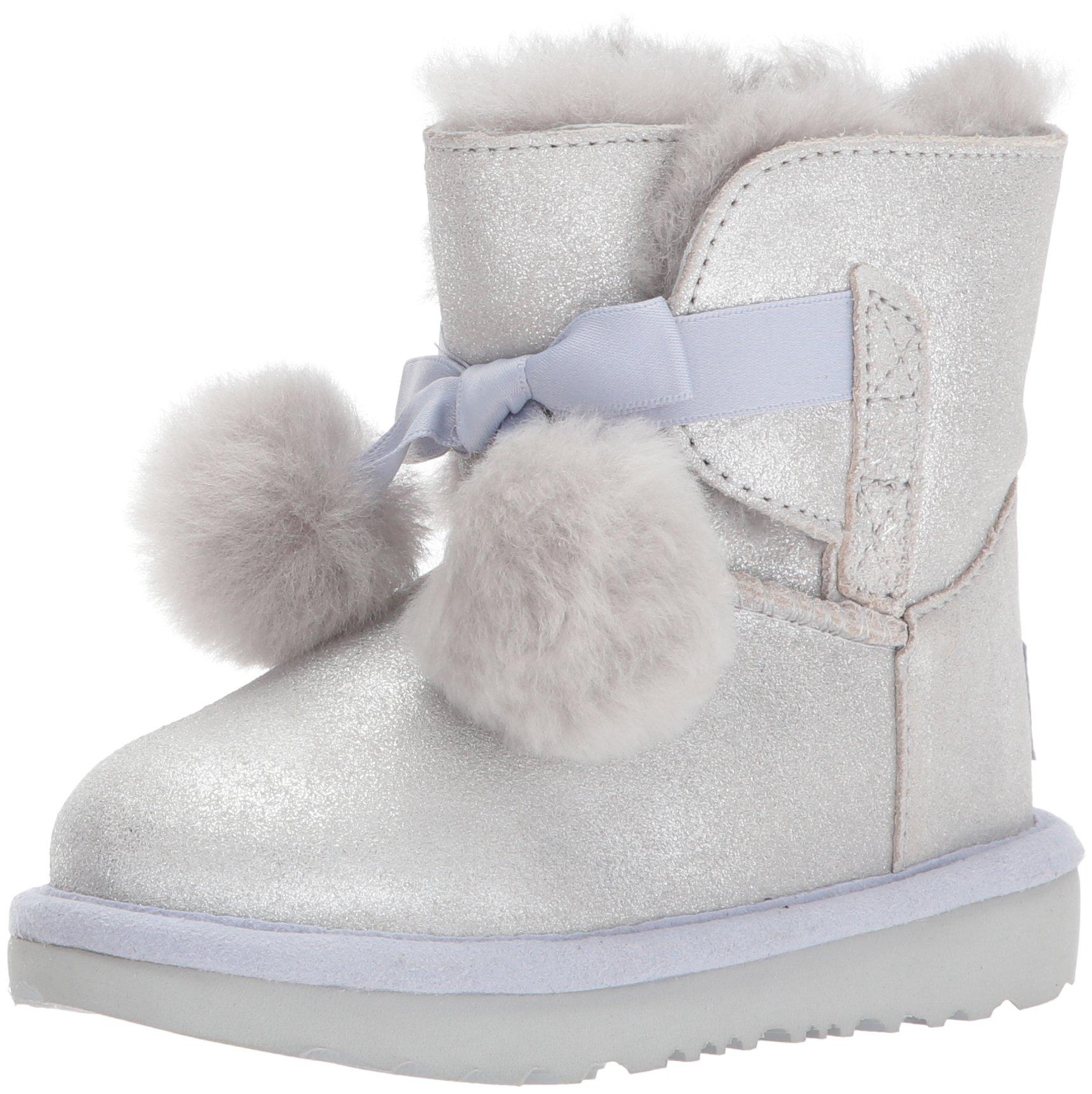 UGG Girls T Gita Metallic Pull-On Boot, Silver, 7 M US Toddler