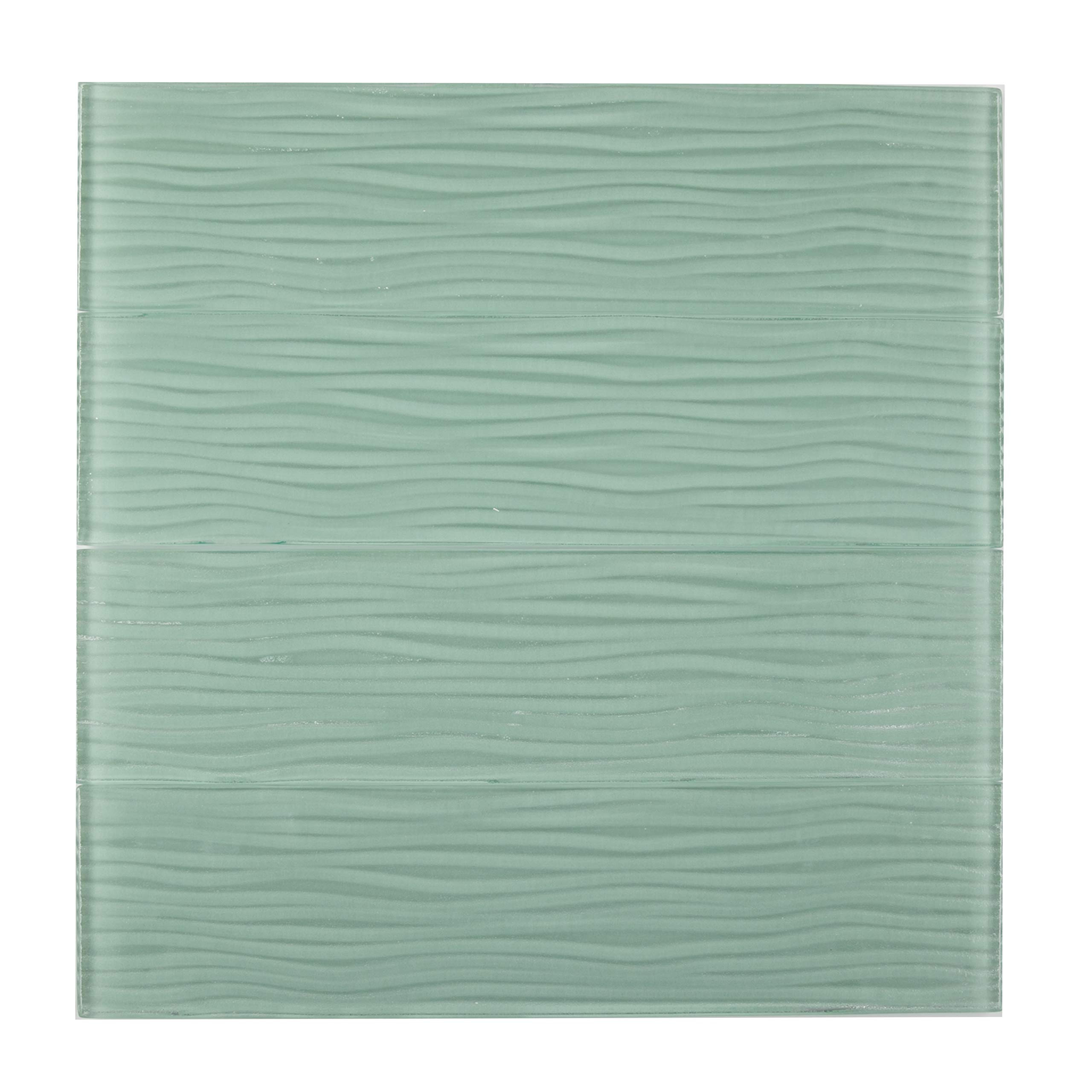 Glass Subway Tile,''Tide Collection'', CA416OS - Light Green, Wave Surface, 4''X15-3/4'', 0.438 SQFT per Piece (Box of 18 Pieces)