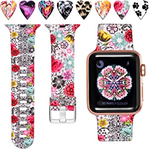 Laffav Floral Band Compatible with Apple Watch 40mm 38mm iWatch SE & Series 6 & Series 5 4 3 2 1 for Women Men, Classic Flower, S/M