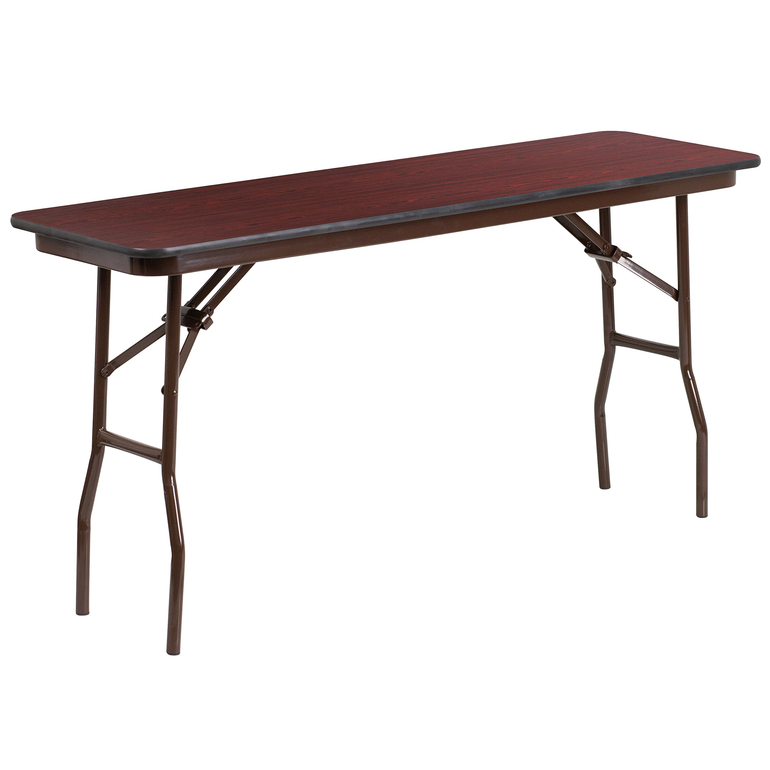 Flash Furniture 18'' x 60'' Rectangular High Pressure Mahogany Laminate Folding Training Table