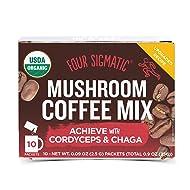 Four Sigmatic Mushroom Coffee, USDA Organic Coffee with Cordyceps and Chaga mushrooms, performance, Vegan, Paleo, 10 Count, Packaging May Vary