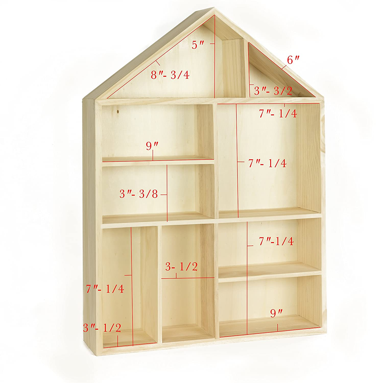 Amazon.com: WALLNITURE House Shape Wooden Shadow Cubby Box Storage ...