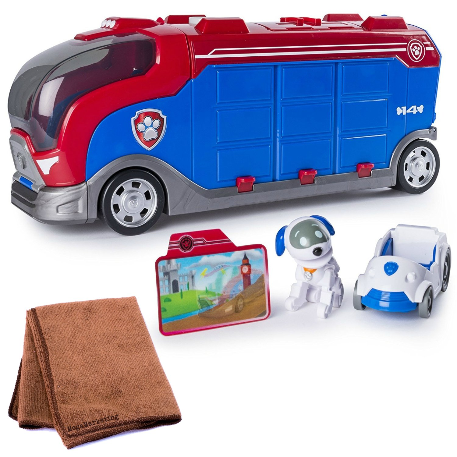 Paw Patrol Mission Paw Lights and Sounds Mission Cruiser with Robo Dog and Vehicle Plus Cleaning Cloth by Páw Patrol