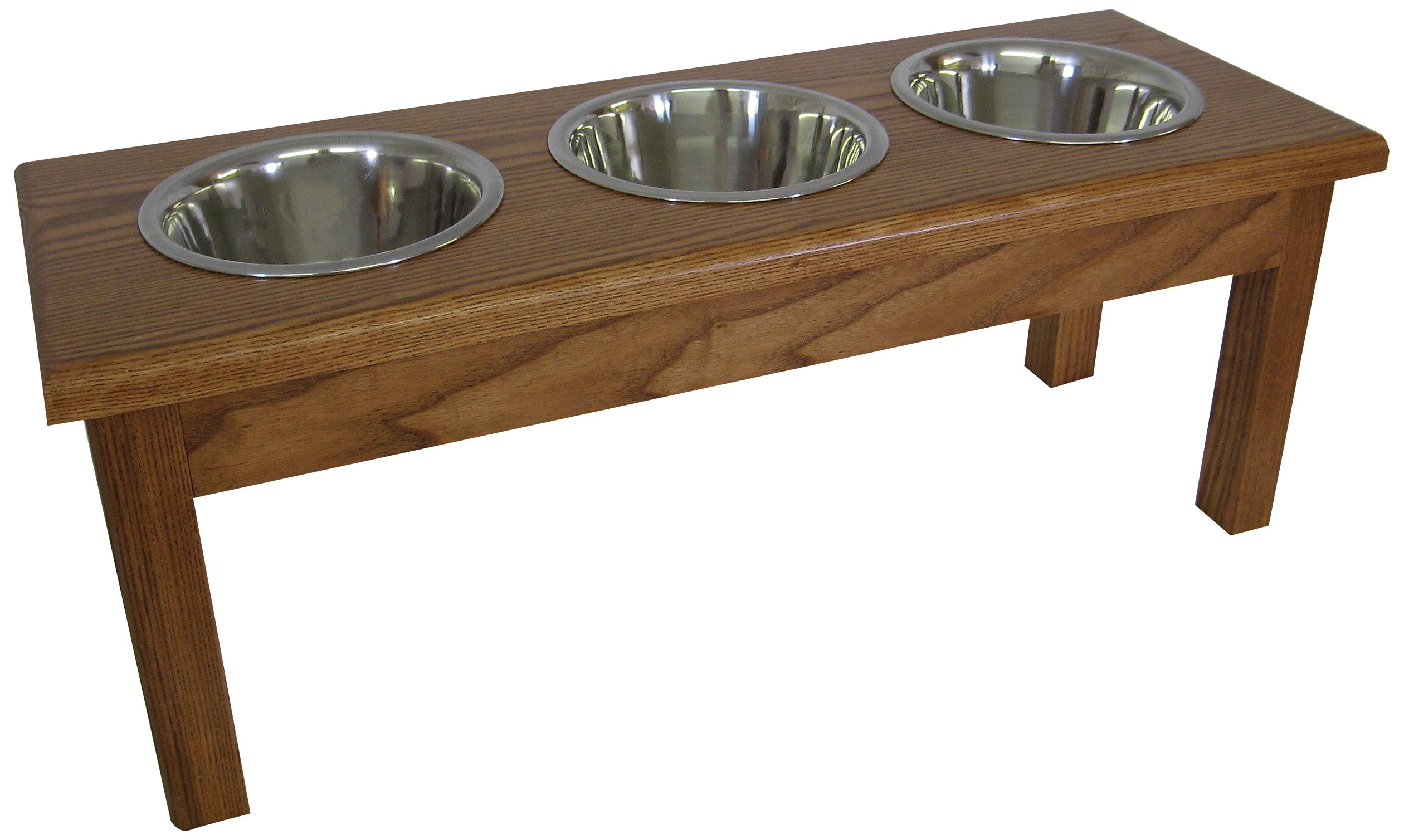 Classic Pet Beds 3-Bowl Medium Traditional Style 2-Quart Ash Pet Diner, Medium Walnut